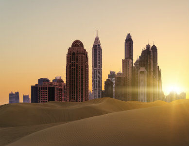 Ville de Dubai vue du désert